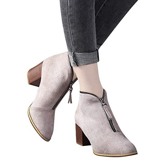 Amazon.com | Nadition Women Bootie, Fashion Suede Ankle Boots Casual Shoes Martain Boots High Heeled Zipper Boot | Boots