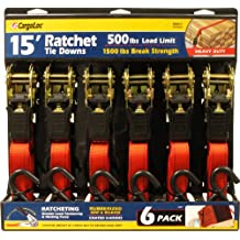 Premium Ratchet Tie Downs - 6 Pk - 15 Ft - 500 Lbs Load Cap - 1,500 Lbs Break Strength - Cargo Straps for Moving Appliances, Lawn Equipment, Motorcycles, etc. - RED