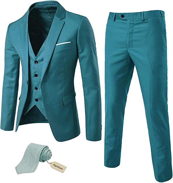 Men's Vintage Style Suits, Classic Suits MYS Mens 3 Piece Slim Fit Suit Set One Button Solid Jacket Vest Pants with Tie $73.85 AT vintagedancer.com