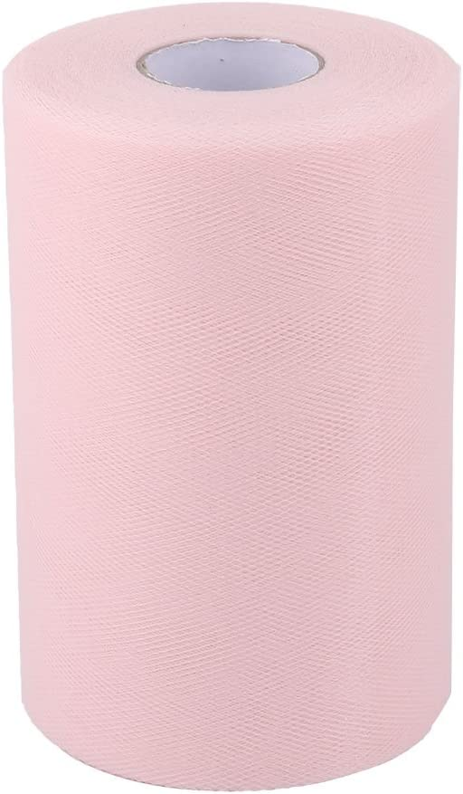 uxcell Polyester Home Dress Tutu Gift Decor DIY Craft Tulle Spool Roll 6 Inch x 100 Yards Light Pink