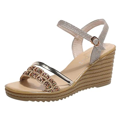 Image Unavailable. Image not available for. Color  Women High Heels Dress Sandals  Bling Buckle Strap Platform Wedges Breathable Shoes Fashion ... 4cacaf098479