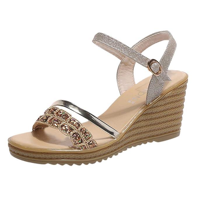 7c2fe4d2 Sandalias De Mujer, Linlink Mujeres Moda Lentejuelas Pedrería Blanda Suelas  Bailando CuñAs Zapatos Casual Transpirable Zapatos Modernos Sandalias De  Tacón ...