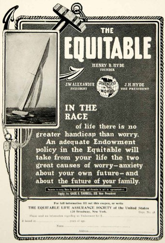 1903 Ad Equitable Life Insurance Banking Finance Sailboat Race 120 Broadway NYC - Original Print Ad from PeriodPaper LLC-Collectible Original Print Archive