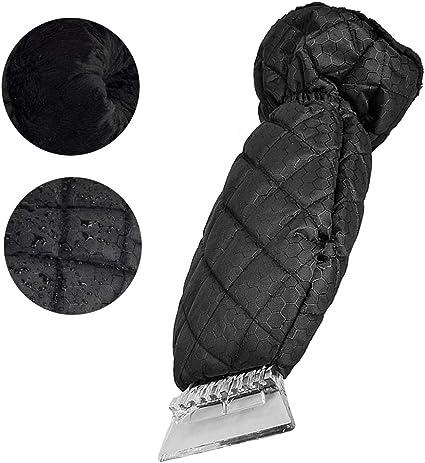 Yikaich Ice Scraper for Car Snow Scraper Mitts Windscreen Scraper with Glove with Waterproof Snow Remover Lined of Thick Fleece Window Scraper Black