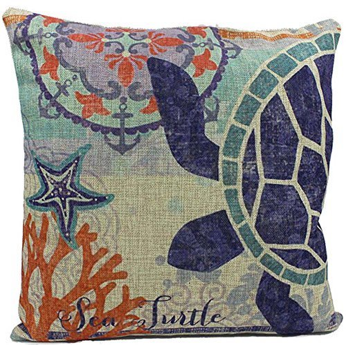 Bnitoam Underwater World Jellyfish Sea Turtles and Whales Throw Pillow Case Cushion Cover Decorative Cotton Blend Linen Pillowcase for Sofa 18