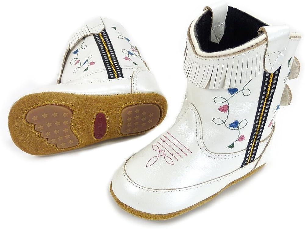 Westernwear-Shop Baby Leder-Cowboystiefel Westernstiefel Girl wei/ß Baby-Westernstiefel Kinder-Westernstiefel Cowboy Boots f/ür M/ädchen Wei/ß