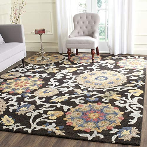 Safavieh Blossom Collection BLM401A Charcoal and Multi Area 10' x 14' Rug,