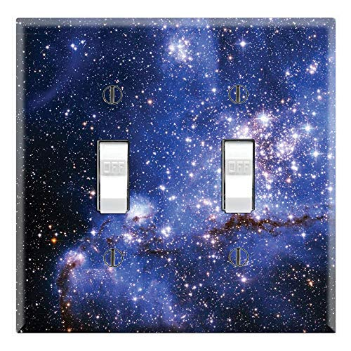 Star Toggle - Graphics Wallplates - Blue Galaxy Stars - Double Toggle Wall Plate Cover