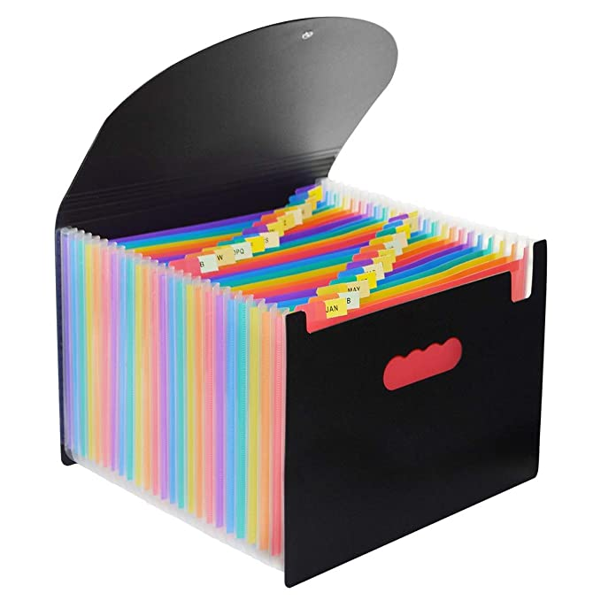 24 Pockets Expanding Files Folder with Lid, Qefuna A4 Letter Size Expandable File Organizer with Cover, Portable Rainbow File Folder with Closure, ...