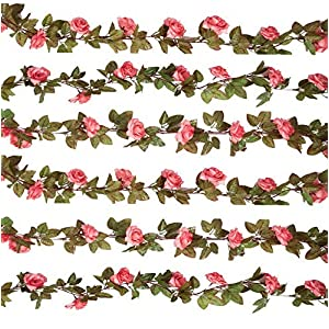 Gatton 3PCS (22.2FT) Artificial Rose Vine Silk Flower Garland Hanging Fake Roses Flowers Plants for Home Garden Office Hotel ding Party Decor,Pink | Model WDDNG - 879 | 3PCS 65