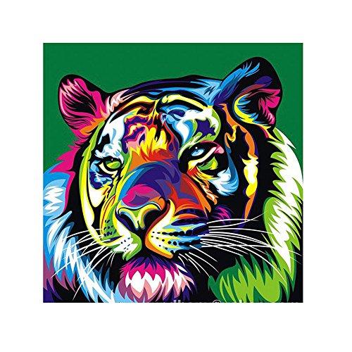 カラフルな虎5dダイヤモンドdiyの絵画クロスステッチキットホームデコレーションクラフトラウンドダイヤモンド刺繍ラインストーンE5M1