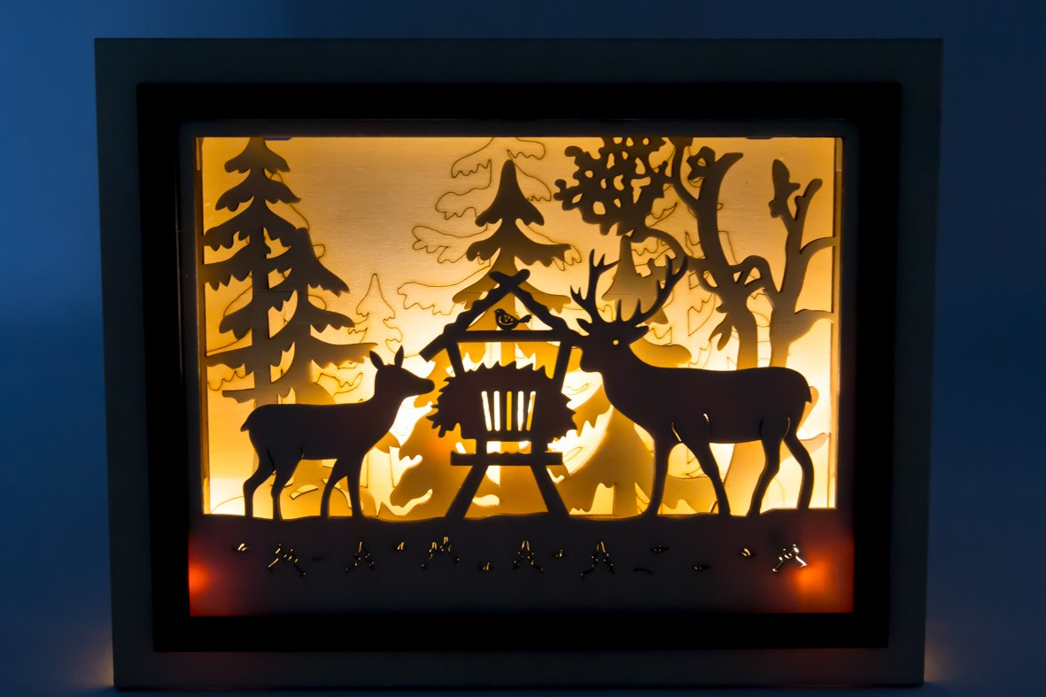 GILDE Holz Bilderrahmen 3D - Lichterbild Weihnachten - Batterie ...