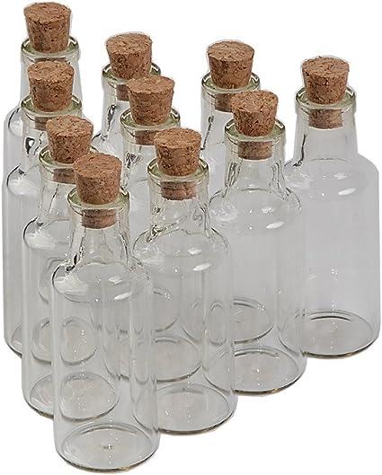 12pcs fiole de verre transparent avec bouchon liege la capacite est 25ml peut etre utilise pour faire un voeu bouteille et puis le jeter dans la