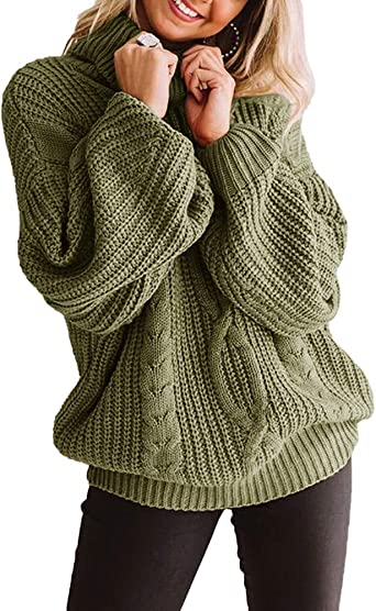 Mens Long Sleeve Cowl Neck Pullover Chunky Knit Long Sleeve Sweater Jumper Top