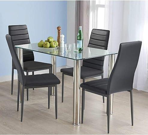 HOMYCASA Juego de mesa y sillas de comedor de 5 piezas, mesa de cocina de cristal y 4 sillas acolchadas, juego de muebles de cocina y comedor (negro): Amazon.es: Hogar