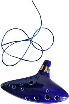 12 Hole Ocarina Ceramic Alto C Legend of Zelda Ocarina Flute Blue Instrument UE
