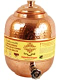 "10.0"" X 6.5"" Pure Copper Water Storage Pot Tank with Tap 4000 ML - Storage Water Home Hotel Garden Kitchen Benefit Yoga Ayurveda"