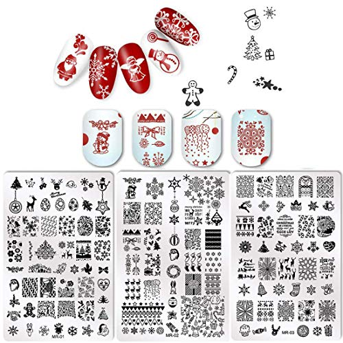 New Year Holiday Nail Stamping Plates Nail Art Stamping Kits With Jelly Stamper and Scraper -DAODER 3pcs Larger Size Winter Nail Plates Snowflake Pattern Trees Stocking Image Templates Nail Art Design
