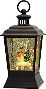 Wondise Lighted Street Lamp Shaped Christmas Snow Globe Lantern with 6H Timer, Battery Operated Snowman with Christmas Tree Scene Glittering Hanging Water Lantern for Christmas Home Decoration Gift