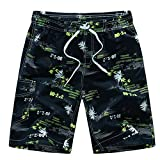 Sevem-D Mens Shorts Summer Floral Printed Hip Hop Beach Shorts Male Boardshort Swimsuit Board Casual Yellow Shorts M