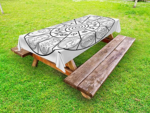 Lunarable Zodiac Outdoor Tablecloth, Zodiac Clock with Signs Ecliptic Coordinates System Birth Chart of Solar Print, Decorative Washable Picnic Table Cloth, 58 X 120 inches, Black White by Lunarable