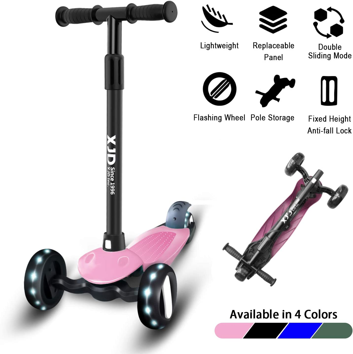 XJD Toddler Scooter Kick Scooter for Kids 3 Wheel Scooter for Toddlers Boys Girls Direction Lock Switch PU Flashing Wheels 4 Adjustable Height Great for Children from 2 to 6 Years Old