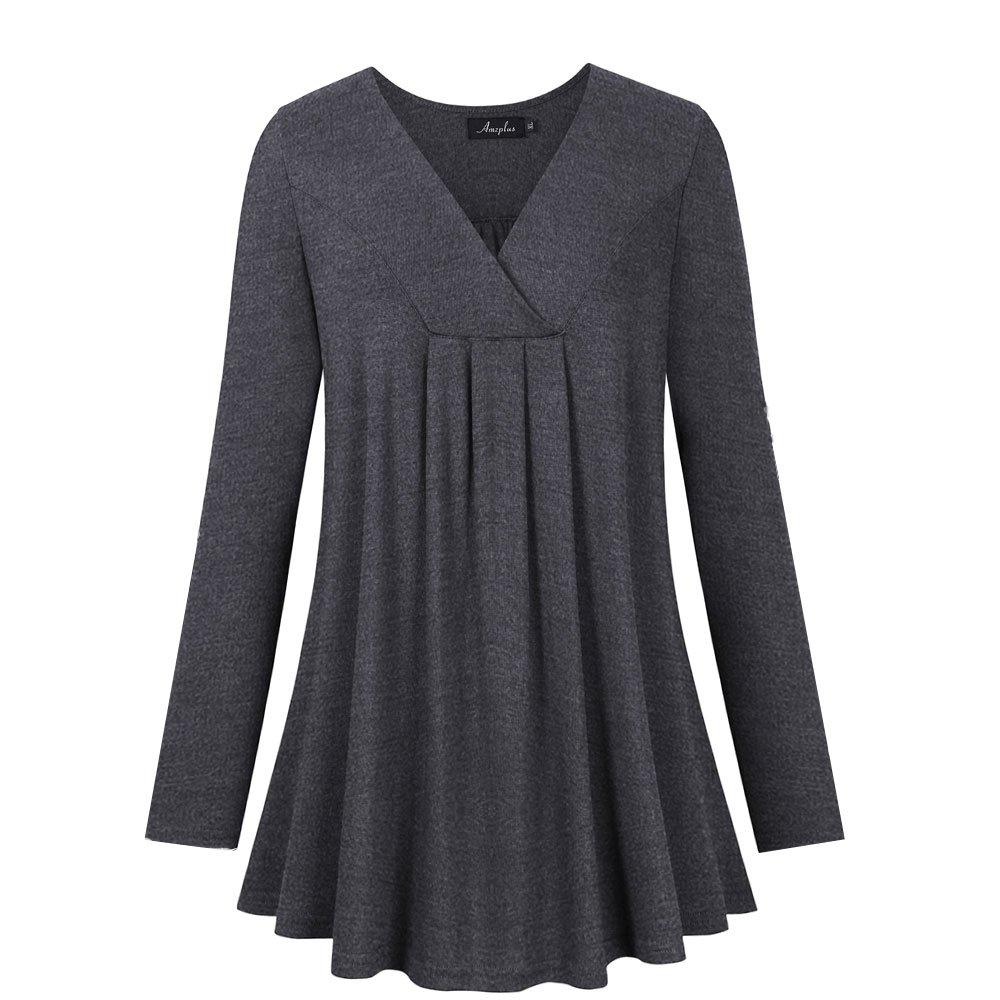 AMZ PLUS Women's Plus Size Flowy Tops V-Neck Loose Blouse Casual Tunic Shirt Dark Gray 3XL
