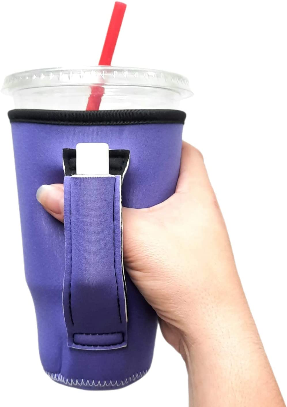 20oz Tumbler Handler with Pocket COMPATIBLE with Blender Bottles, 20oz Tumblers, Large Soft Drinks/Loaded Teas, Venti Coffee, patent pending (Purple)