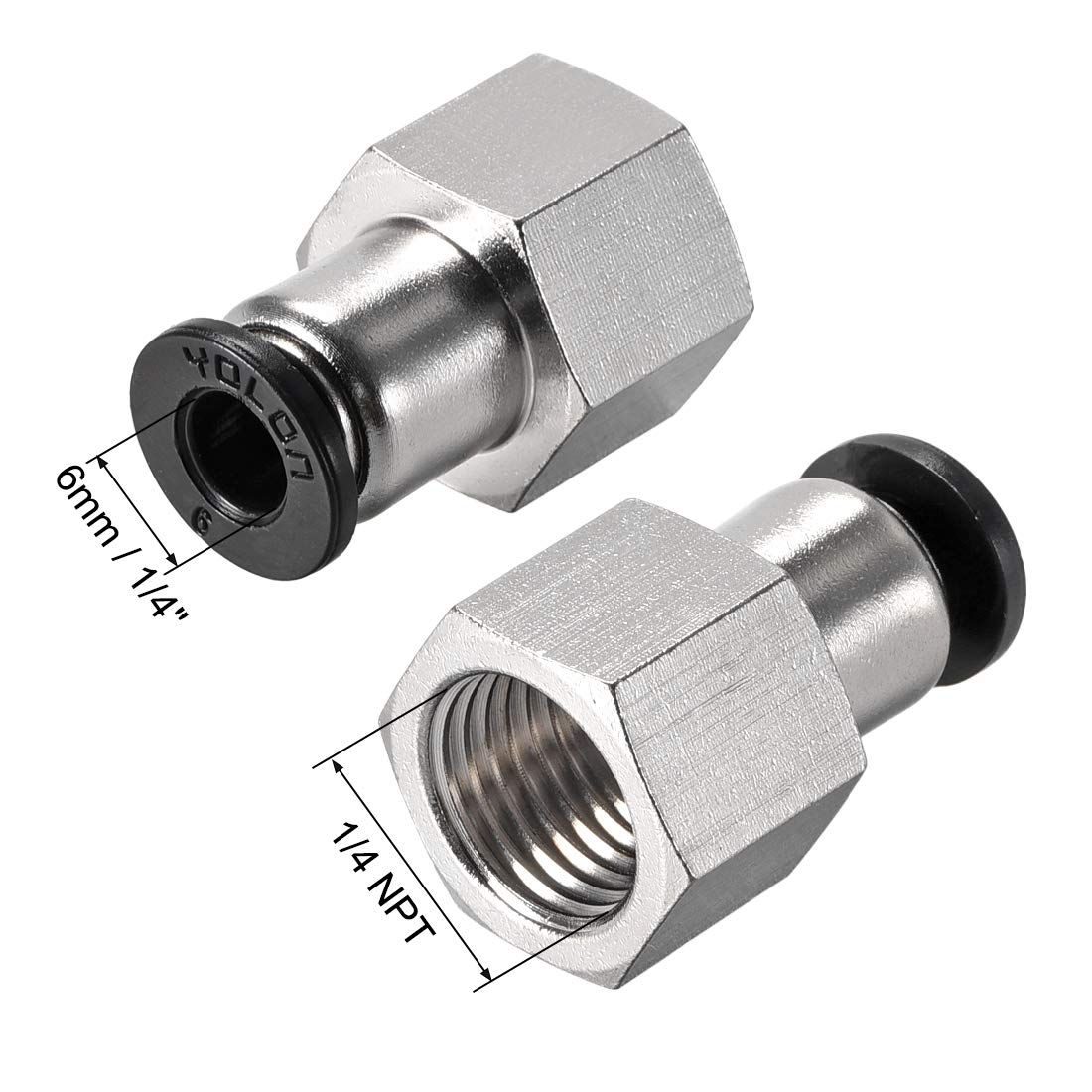 Straight Pneumatic Push to Quick Connect Fittings 1//4NPT x 6mm Silver Tone 3pcs