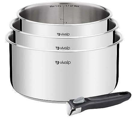 Vivalp l9434s14 Set de 3 cacerolas acero inoxidable + 1 mango extraíble, inducción