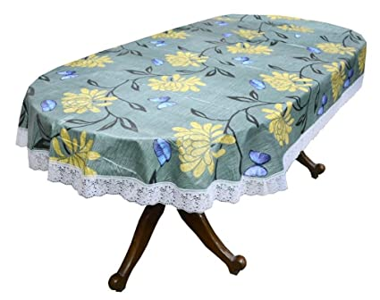 Stylista 8 Seater Table Cover Oval Shaped WxL 60x90 inches with White Border lace