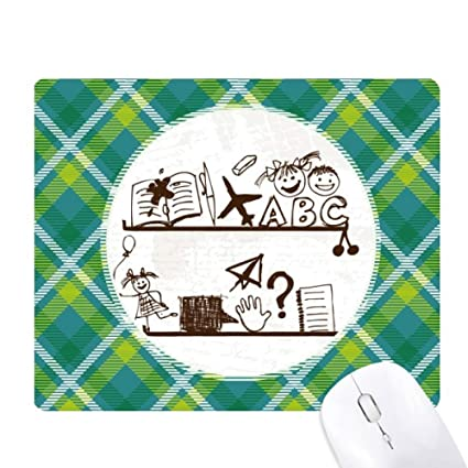 Childlike Children Cute Illustration Bookshelf Green Lattices Grid Pixel Mouse Pad