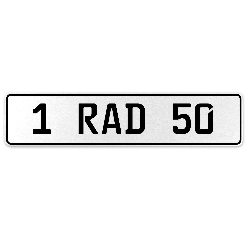 Vintage Parts 554053 1 RAD 50 White Stamped Aluminum European License Plate