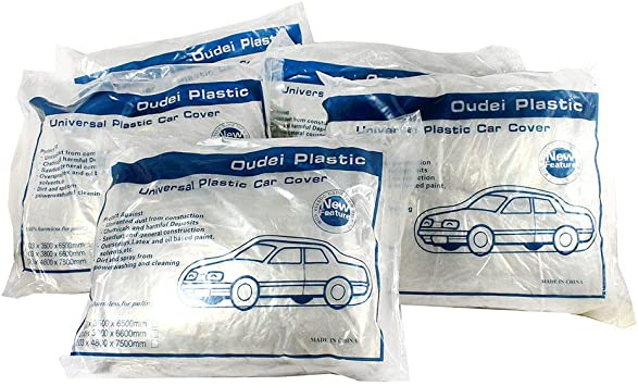 2 Pack Clear Plastic Disposable Car Cover Temporary Universal indoor quality