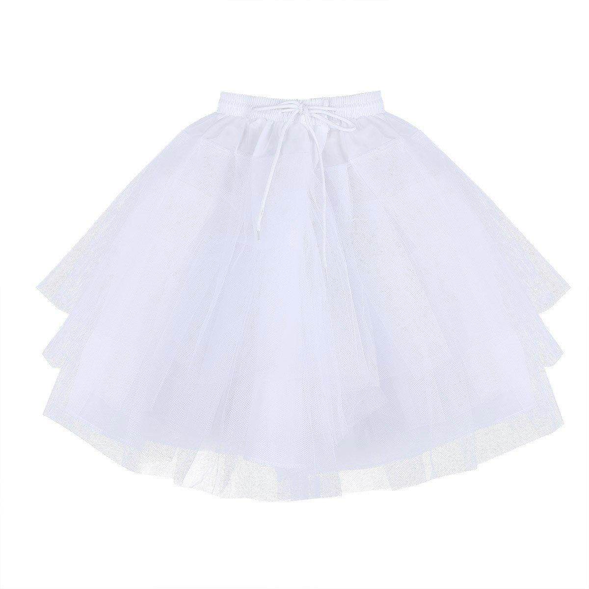 TiaoBug Kids Flower Girls 3 Layers Net Pageant Evening Wedding Dress Underskirt Crinoline Slip Bridesmaid Skirt Petticoat T10039732-10037995-US