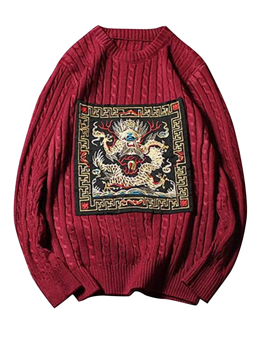 ARTFFEL Men Autumn Winter Embroidery Chinese Style Twist Knitted Pullover Sweaters