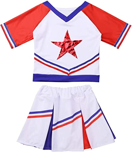 NEW Girl S 6-8 REAL Gold Cheerleader Uniform Top Skirt Brief Cosplay Halloween