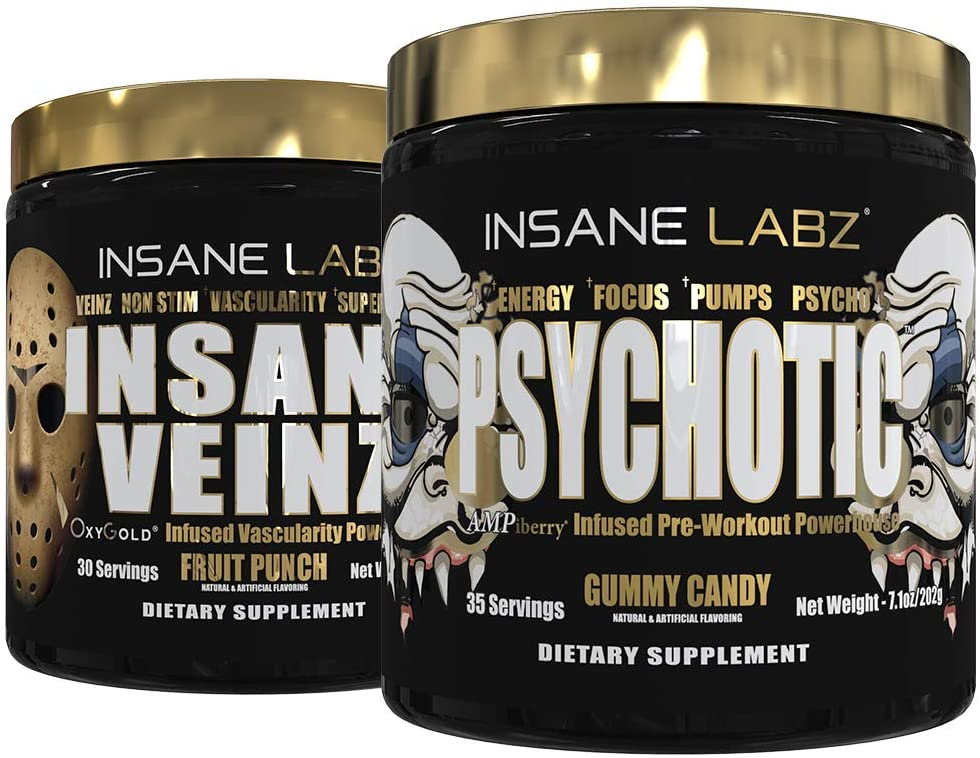 Insane Labz Psychotic Gold and Insane Veinz Gold Pre Workout Nitric Oxide Booster Stack, Increase Muscle Mass, Vascularity, Strength, Energy, Focus, Gummy Candy and Fruit Punch.