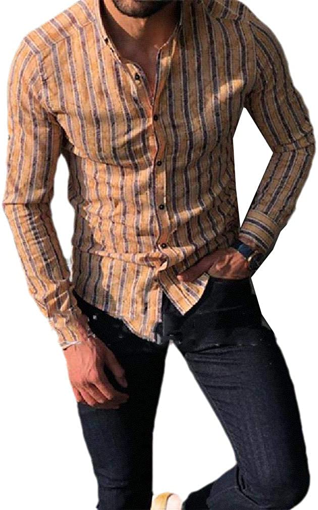VITryst-Men Stripes Button Down Relaxed-Fit Long-Sleeve Slim Fit Western Shirt