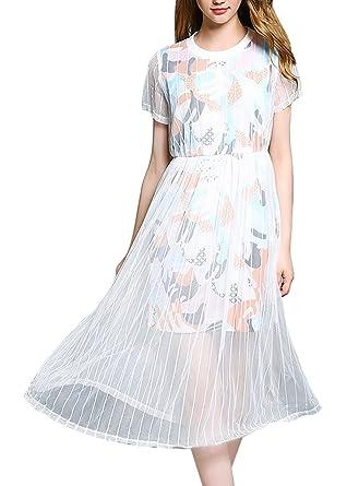 Mena UK Damen-Mode Mesh & Lace Blumen- Tuch kurze Hülse ...
