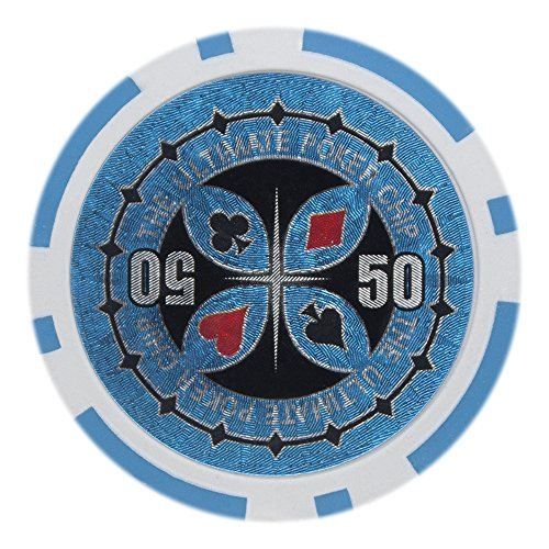 Brybelly Laser Inlay Poker Chips Heavyweight 14-gram Clay Composite - Pack of 50 ($50 Light Blue)