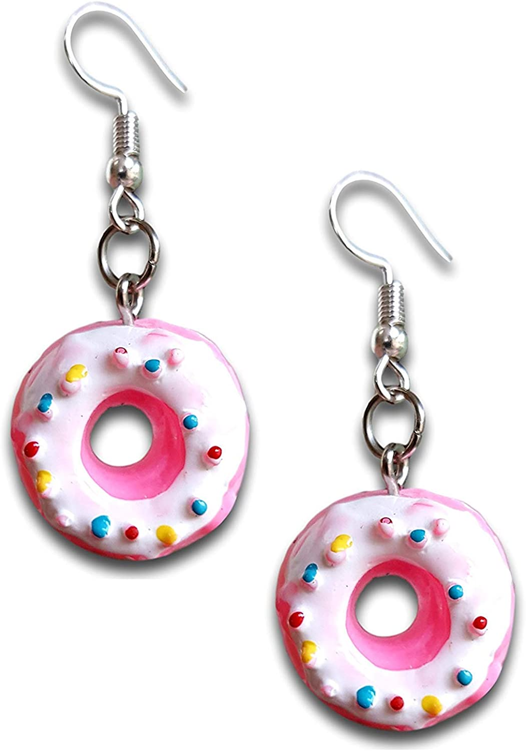 Pink Donut w/White Yummy Icing Tiny Food Mini Dangle Earrings by Pashal