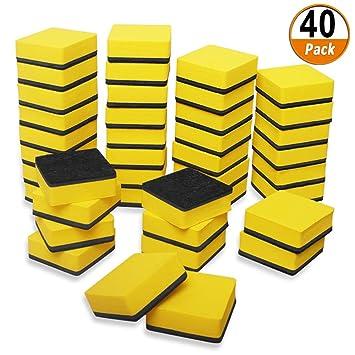40 Unids Mini Pizarras Blanqueadoras Borradores Secos Magnéticos Limpiadores de Pizarra Limpiaparabrisas para Aula Oficina y