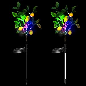 Solar Decorative Garden Stakes Lights, Christmas Party Outdoor Decor Lemon Trees with Multi Color LED Flash Lights Waterproof for Home Lawn Yard Patio Pathway Landscape, 2 Pack (Lemon Trees)