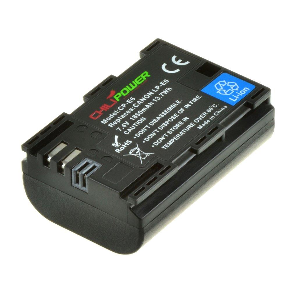 1850mAh EOS 60D EOS 7D EOS 70D ChiliPower LP-E6 Kit; 2x Batterie EOS 5D Mark III EOS 60Da + Chargeur pour Canon EOS 6D Canon EOS 5D Mark II