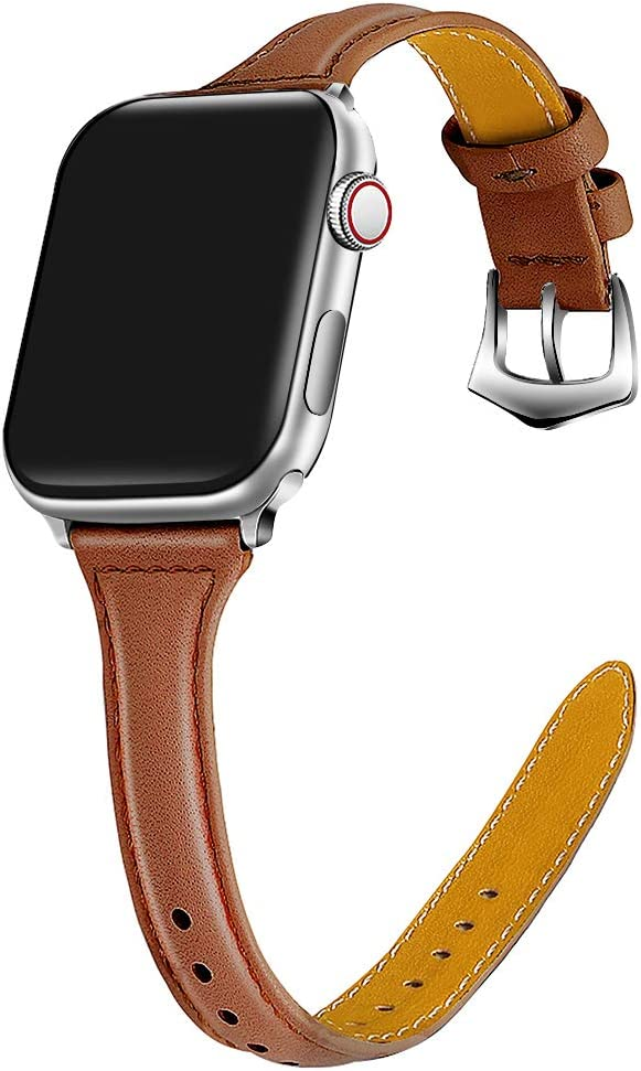 ONMROAD Leather Band Compatible with Apple Watch 40mm Series 5 Series 4 Band Women Slim Edition Texture Leather Replacement Strap for iWatch Series 4/5(Brown Wristband+Silver Adapter)