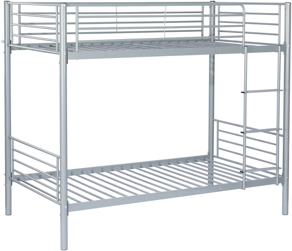 Bonnlo Metal Bunk Bed Twin Over Twin with Guard Rail and Non-Slip Flat Step for Kids/Teens, Gray