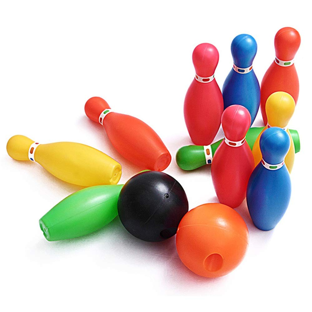Sdcvopl Bowling Toy Set Game Colorful Plastic Bowling Ball Pins Party Favors Kit Sport Toddler Educational Toys 12 Pcs Gift for Kids Baby Boys Girls (Color, Size : 15cm)