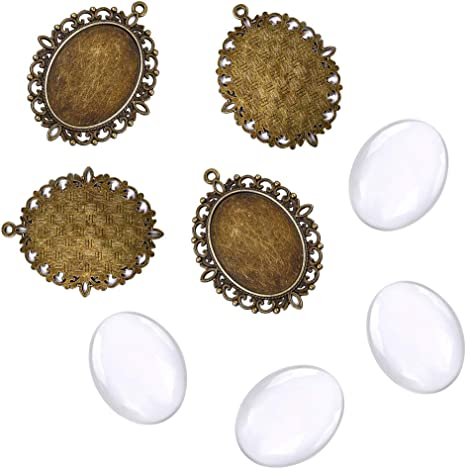 10 Set 25mm Dome Transparent Glass Cabochons Alloy Pendant DIY Cabochon Settings