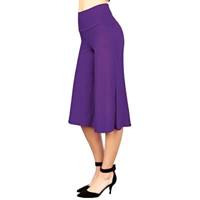 Made By Johnny Women's High Elastic Waistband Wide Leg Palazzo Culotte Gaucho Capri Pants (S~5XL) at Women's Clothing store